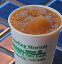 The infamous apple cider slushies at Arbor Day Farm.