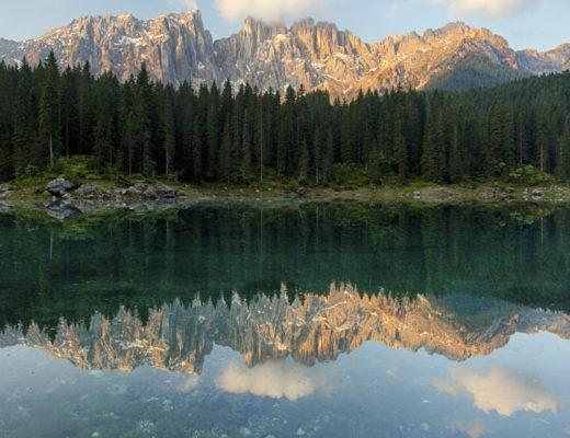 mountains lake trees